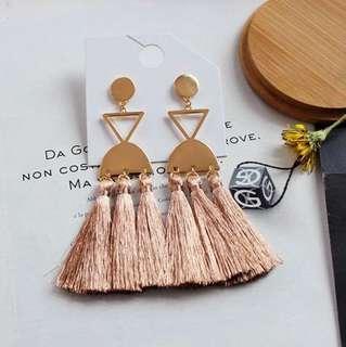 E04 Bohemian Pink Tassel Earrings