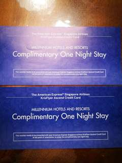 1 x Voucher for complimentary one night stay @ millenium hotels and resorts