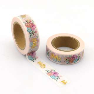 "Gold Foil ""Hello"" with Flowers QC101282 Washi Tape 15mm x 10m"