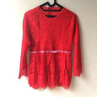 Baju kebaya merah size M red lace top