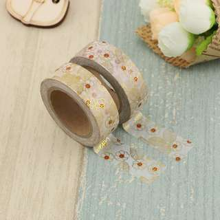Gold Foil Red Flowers with Leaves QC100157 Washi Tape 15mm x 10m