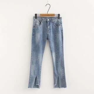 (XL~4XL) 2018 elastic high waist split trumpet jeans pants