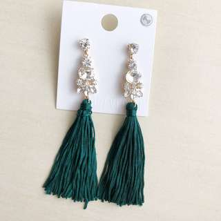 F21 Jewel Green Long Tassel Earring