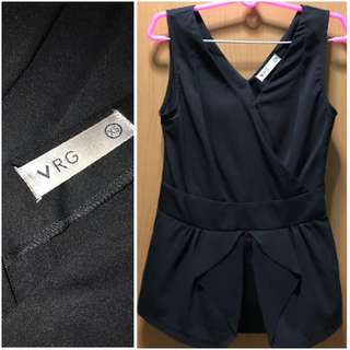 VRG Black peplum top