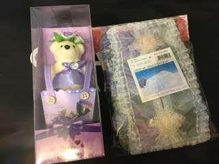 芳香小熊香皂/蕾絲面紙盒