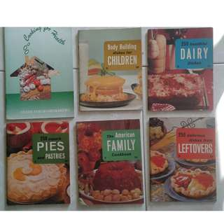 6 Types cookery books @$0.50 each