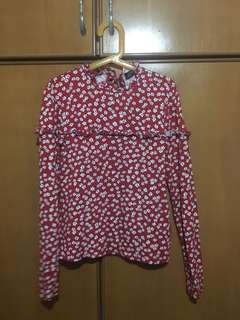 Floral Red Blouse