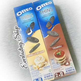 Oreo Thins Vanilla Delight dan Tiramisu Thin Crispy and Cookies Import Snack 95 Gram