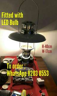 Original Brand New Kerosene Lamp re installed with energy saving LED bulb, decorative antique wall ceiling look light, outdoor or indoor, goes well with any leather designer table chairs dining set