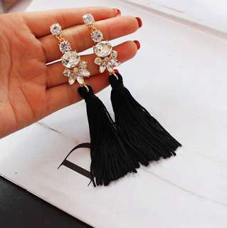 E05 Diamond Statement Tassel Earrings