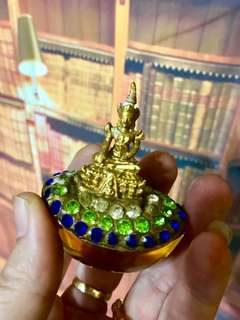 Jade Buddha with gold citrine crystal ingot