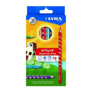 PRE-ORDER: LYRA Groove Child-Grip Pencils, 4.25mm Lead Core, Set of 10, Assorted Colors