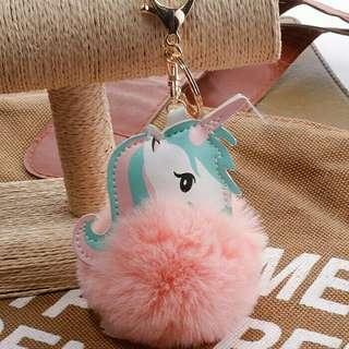 Gantungan Kunci Unicorn PomPom key chain