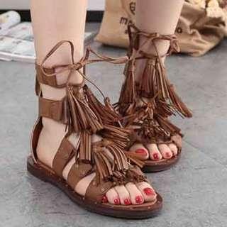 【現貨+預購】AT - 女鞋(408):牛二層皮覆膜+優質二層豬皮*羅馬風格~涼鞋/拖鞋(尺寸:35-39碼/高度:約1.5公分/防水台:約1公分/重量:約0.7KG)_免運。