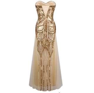 1920's Great Gatsby Sequin Evening Dress