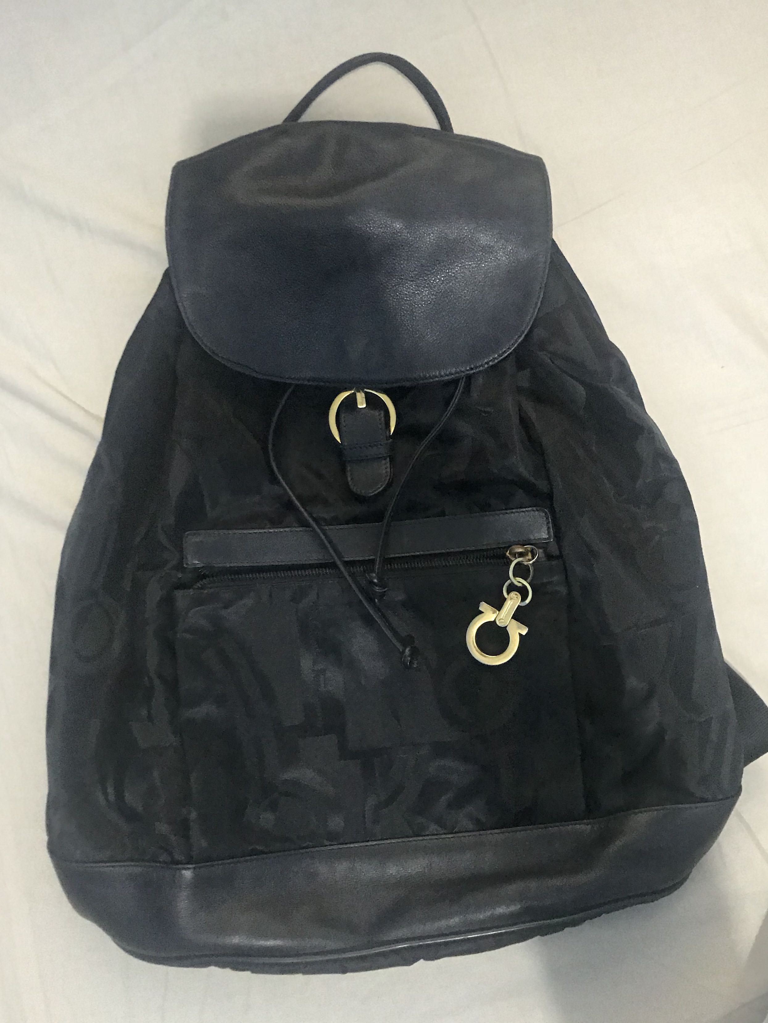 Authentic Salvatore Ferragamo Nylon Leather Backpack fbadaacaf9dae