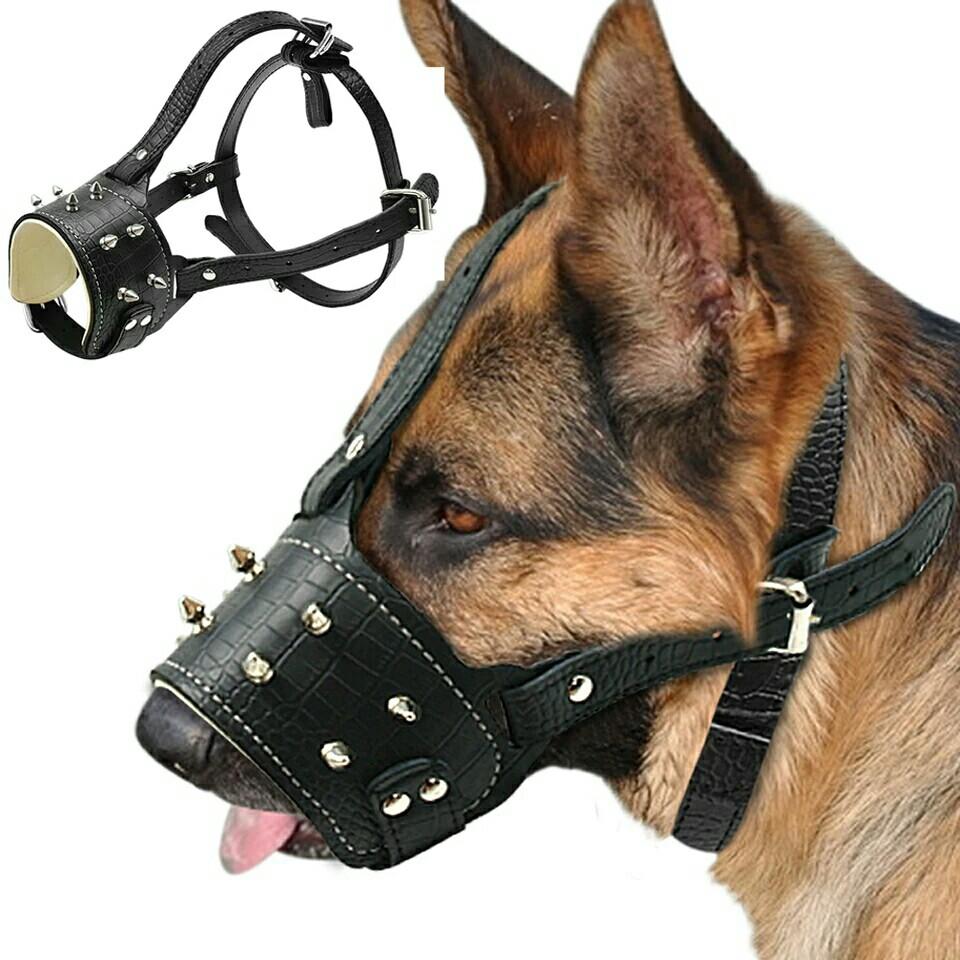Cool Spiked Studded Pu Leather Dog Muzzle Anti Biting