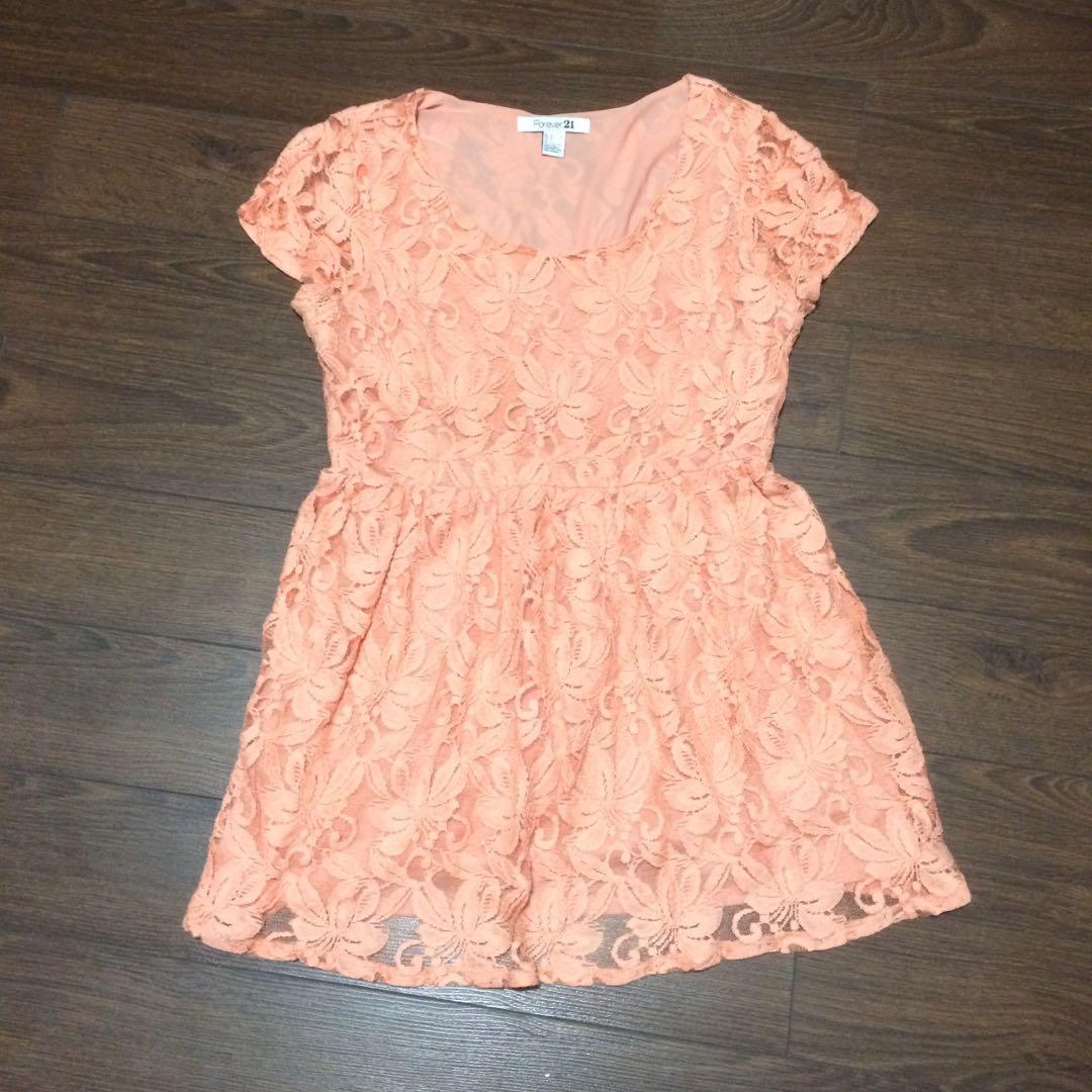 Coral Lace Dress Size L