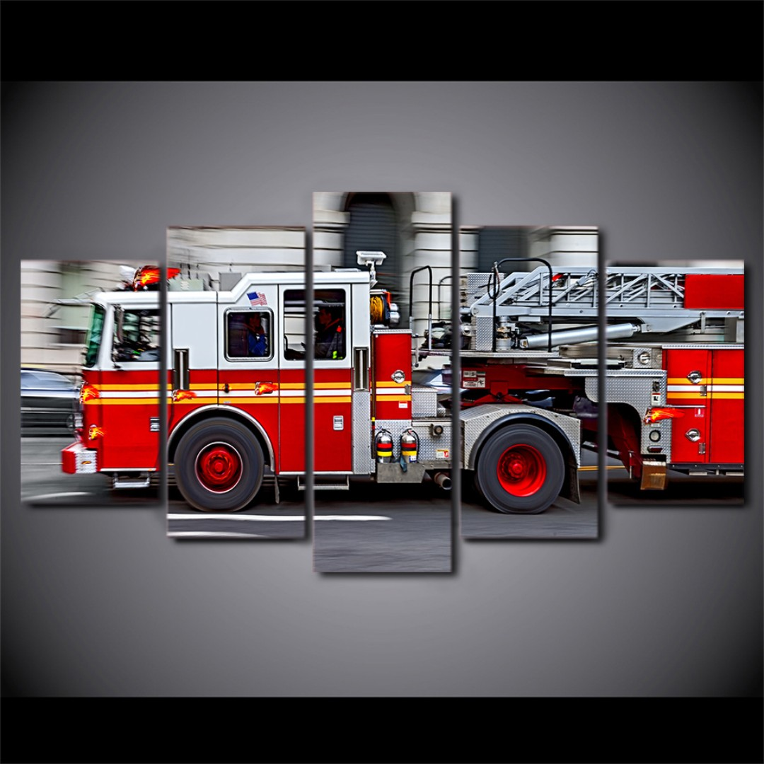 Framed Red Fire Engine Vehicle Canvas Room Office Decor Furniture