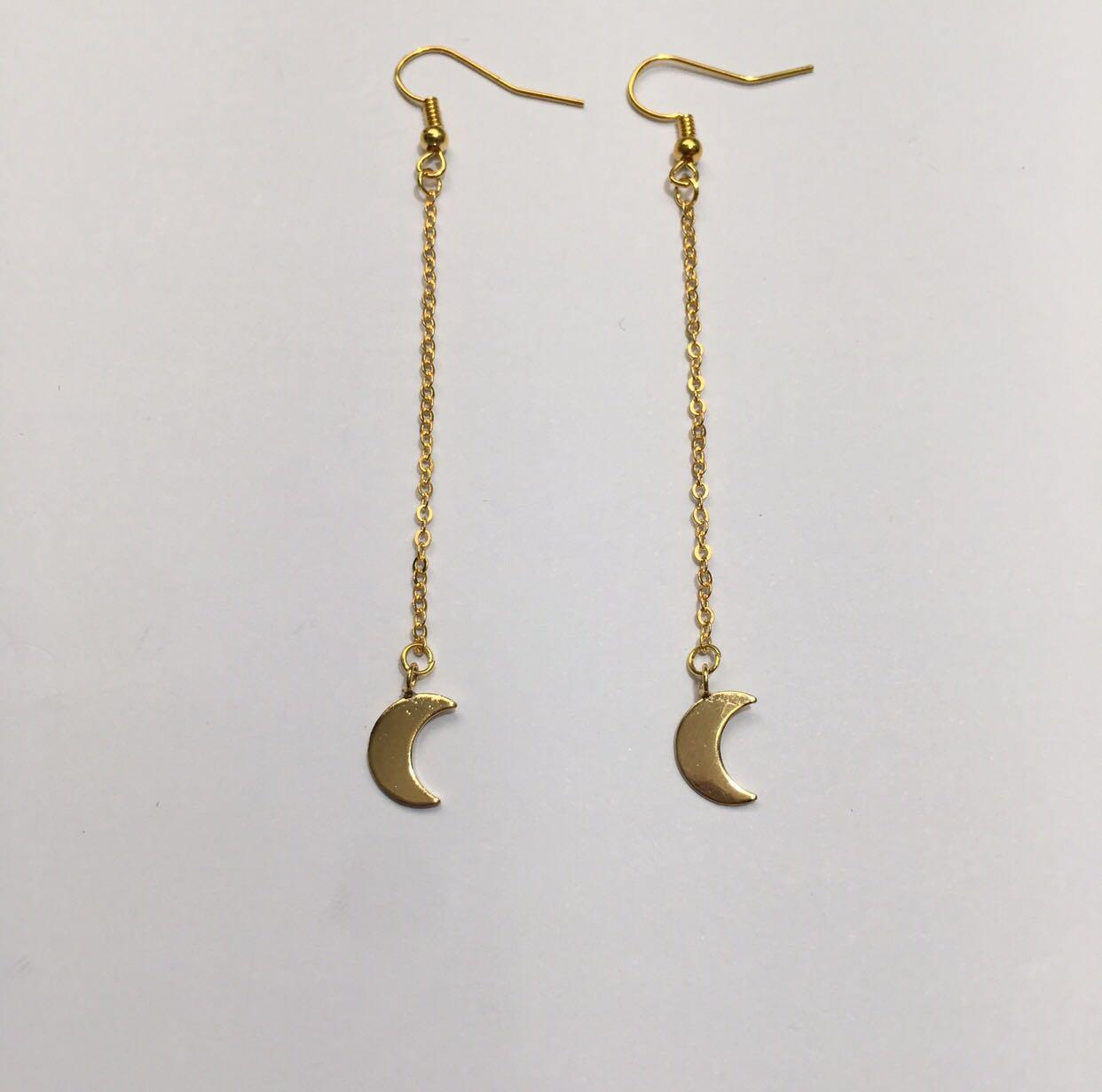 Gold drop moon dangle earrings
