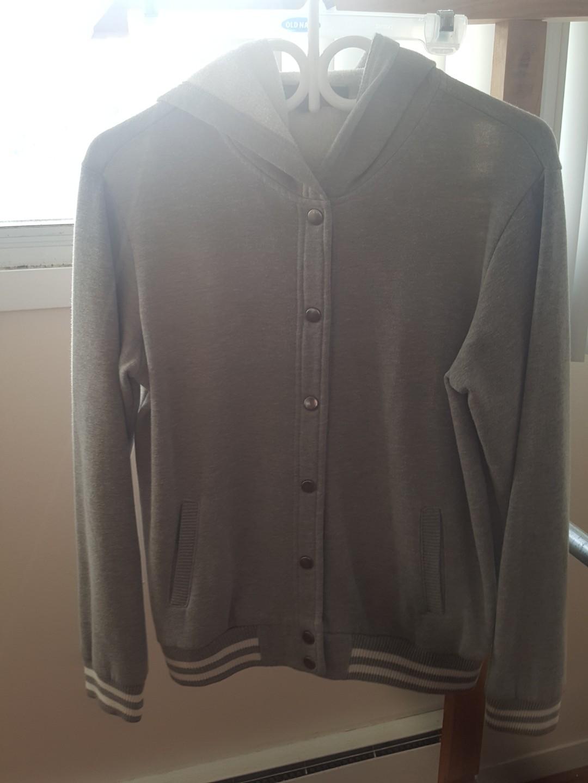 Grey Varsity Jacket/Sweater with Hoodie