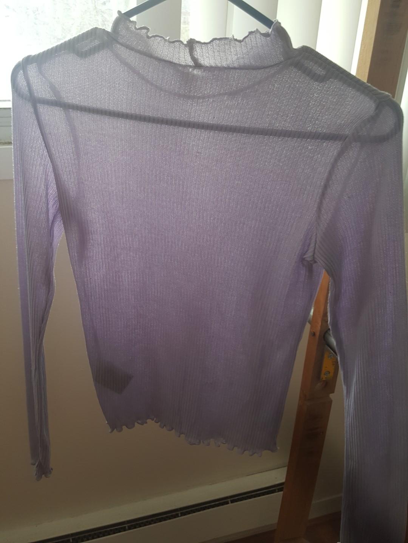 H&M Purple Ruffled Mock Neck Top