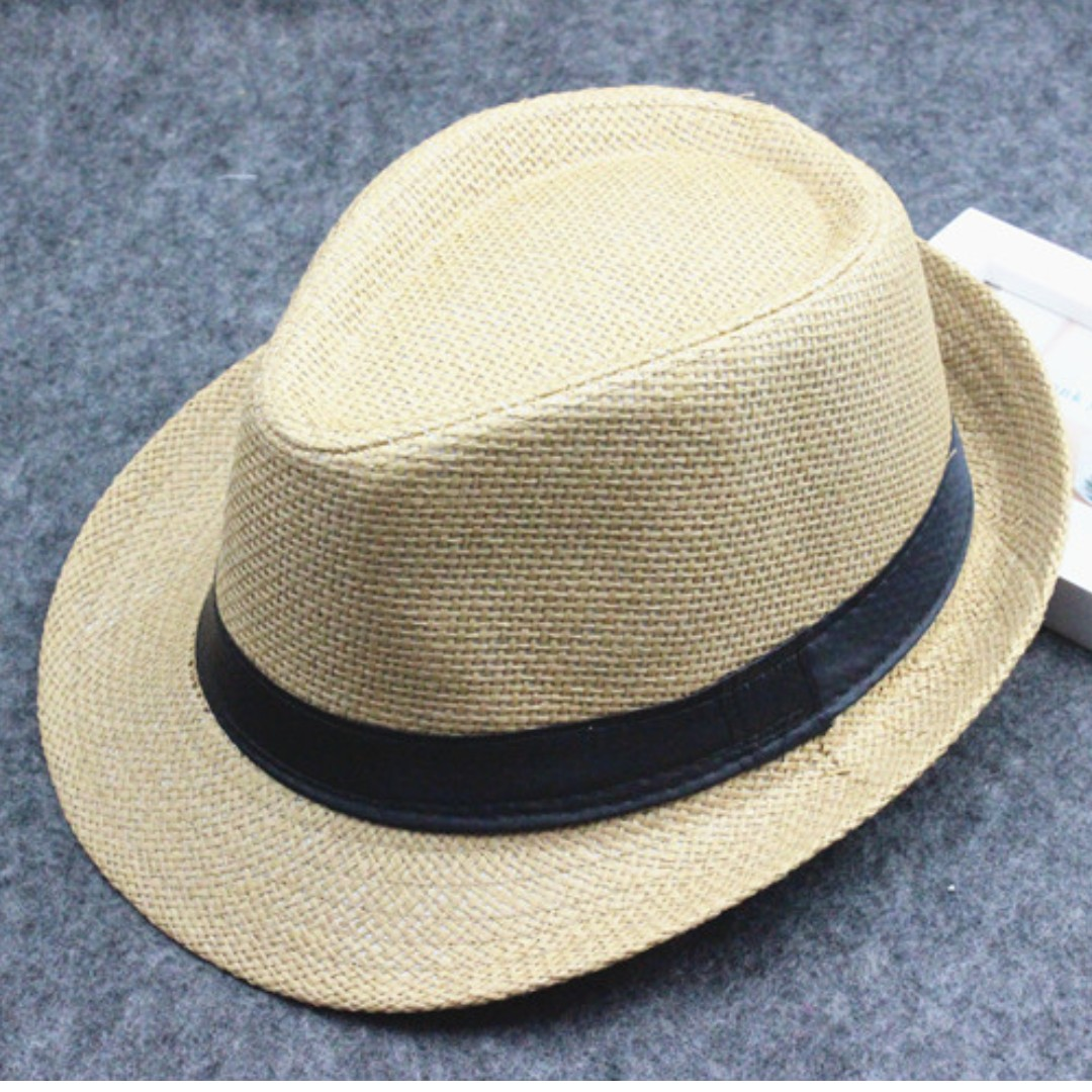 a2a3a47a27b Khaki Straw Panama Fedora Hat Trilby Men Women Beach Casual