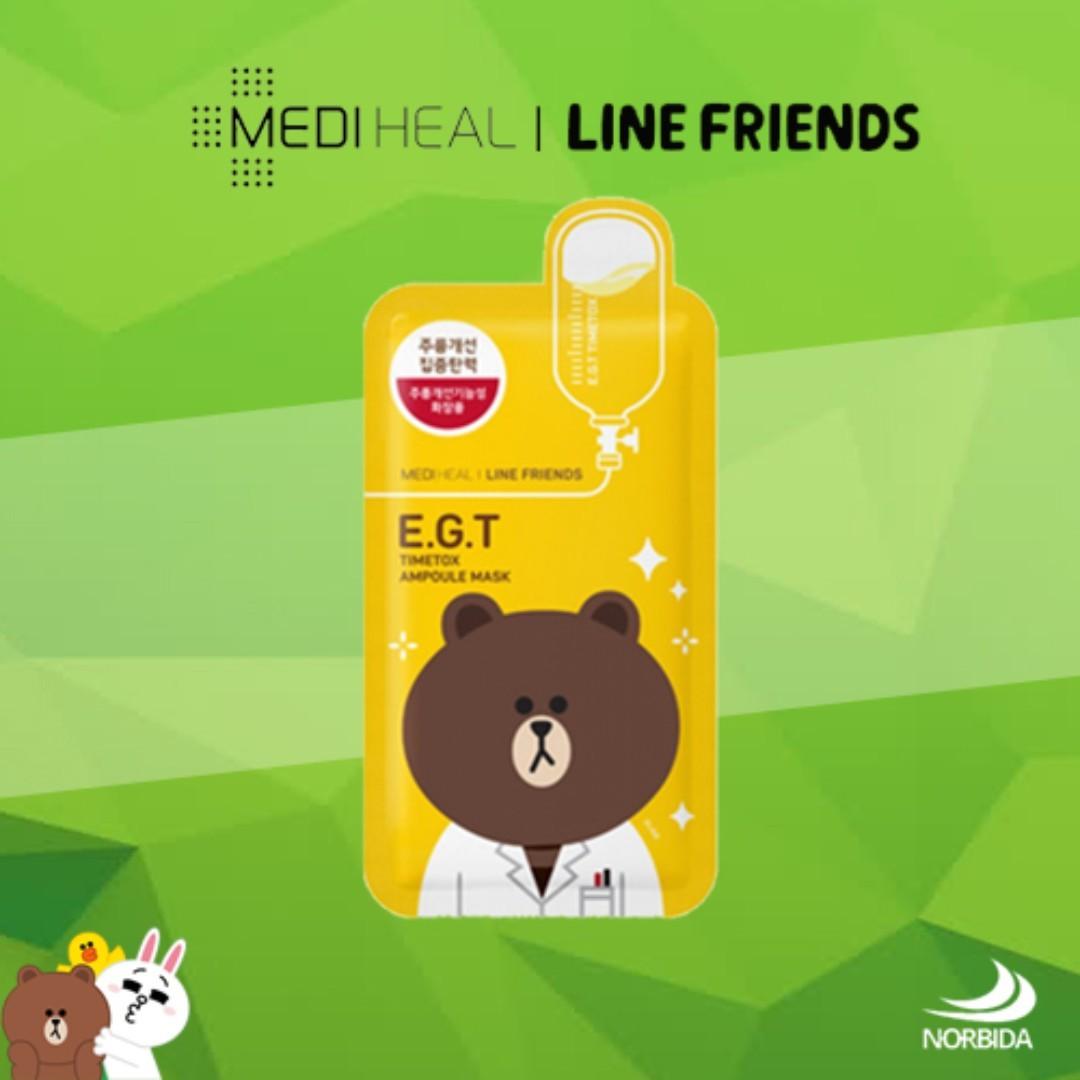 Mediheal Line Friends Egt Timetox Ampoule Face Mask Sheet 27ml X 10pcs Health Beauty Skin Bath Body On Carousell