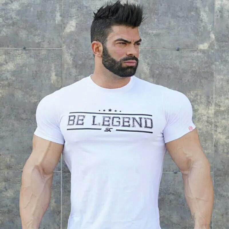Mens Summer gyms Fitness brand T-shirt Crossfit Bodybuilding