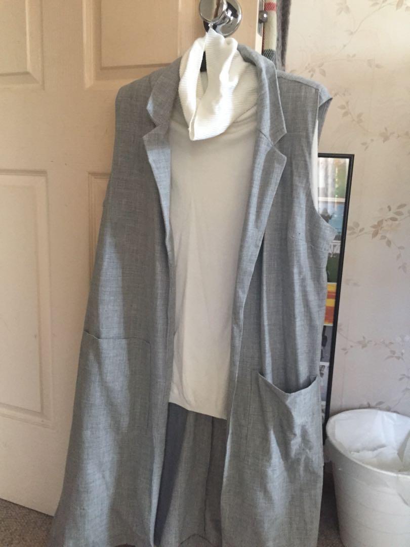 NEW Grey vest duster coat outerwear