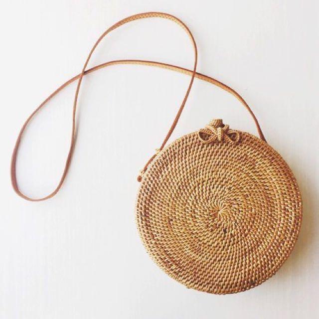 (PROMOTIONXINSTOCKS) Handwoven Ribbon Round Rattan Ata Bag 0abb9c1099ed6