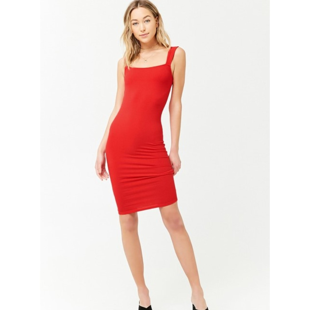 94a5197b91cc Red ribbed midi dress Forever 21