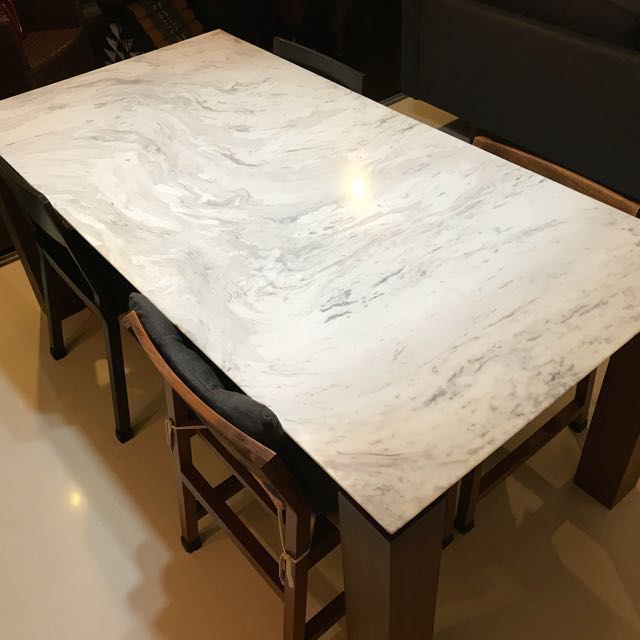 Scandinavian Dining Table Marble Top With Walnut Finish Furniture