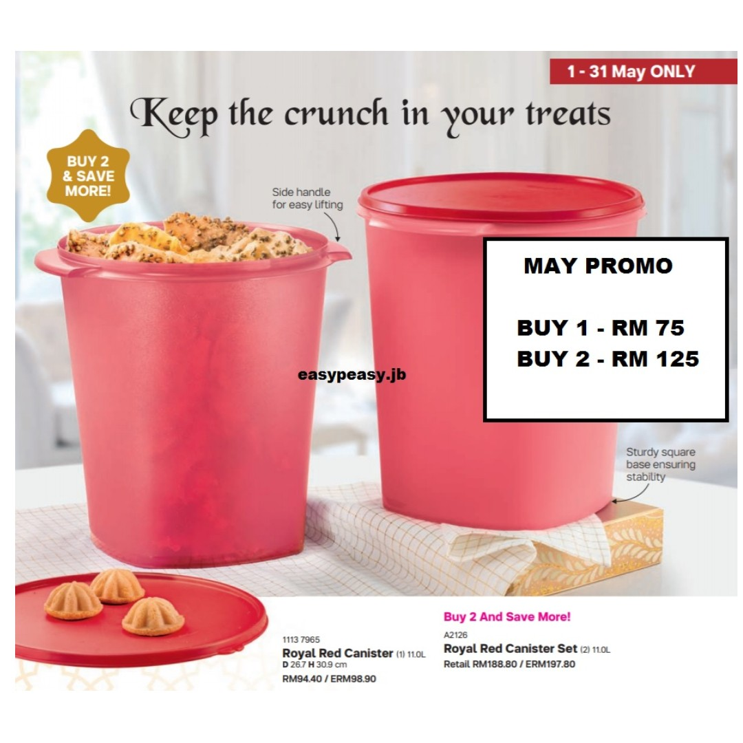 Tupperware Royal Red Canister Set 11 Liter [READY STOCK], Kitchen & Appliances on Carousell