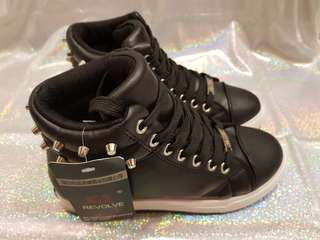 Studded Black High-Cut Sneakers