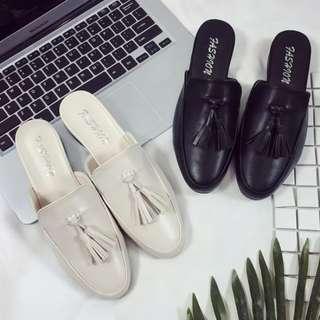 韓系簡約✨百搭流蘇低跟包頭拖鞋 半拖鞋 懶人鞋 低跟鞋 休閒鞋 穆勒鞋