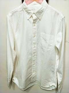 🚚 無印良品 muji有機棉水洗牛津布襯衫L白色