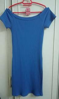 Forever 21 Blue Ribbed Bodycon Dress