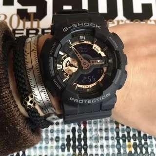 CASIO 卡西歐 G-SHOCK 黑玫瑰金 指針雙顯錶款 GA-110 運動手錶 情侶手錶