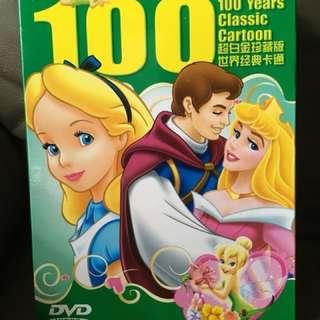 迪士尼百年經典卡通珍藏 DVD 小朋友至愛 訓練小朋友聆聽國語英語妹幫手