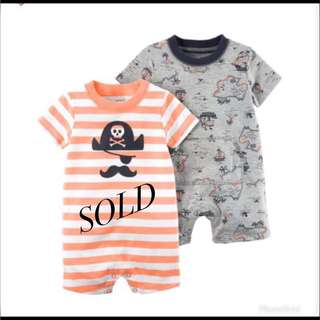 *12M* Brand New Carter's Snap Up Cotton Romper For Baby Boy