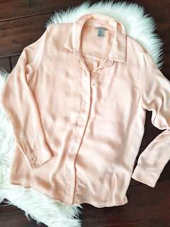 H&M Size Large Powder Pink Long-sleeved Blouse