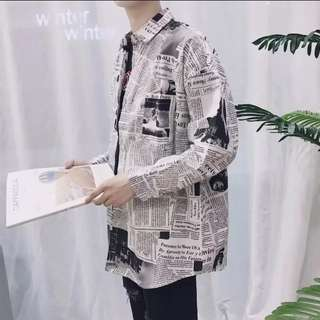Newspaper Style Long Sleeve Shirt Dope Swag Streetwear