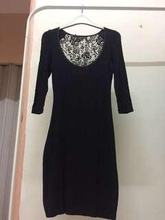 Warehouse lace back bodycon dress