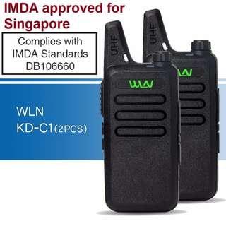 👍IMDA approved👍, 2 pcs (1 pair) New model, military grade! WLN KD-C1 Mini UHF 400-470 MHz Handheld Transceiver Two Way Ham Radio HF Communicator Walkie Talkie long range