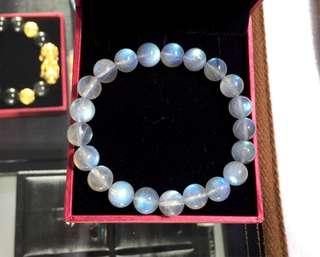 全藍光月亮石手鍊拉長石月光石手串8.6mm左右