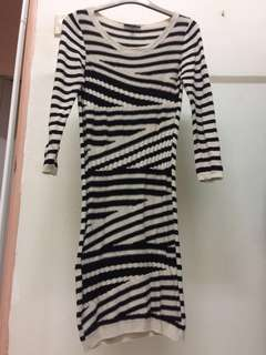 Warehouse stripe knitted dress