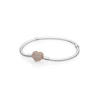 Pandora Rose gold heart shape Bracelet 玫瑰金 心型 閃石 潘朵拉 手鏈 女朋友 生日 日本 港女最愛
