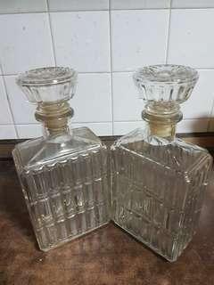 Vintage glass wine bottles