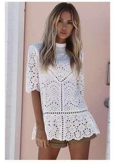 PO - Summer Lace White Blouse